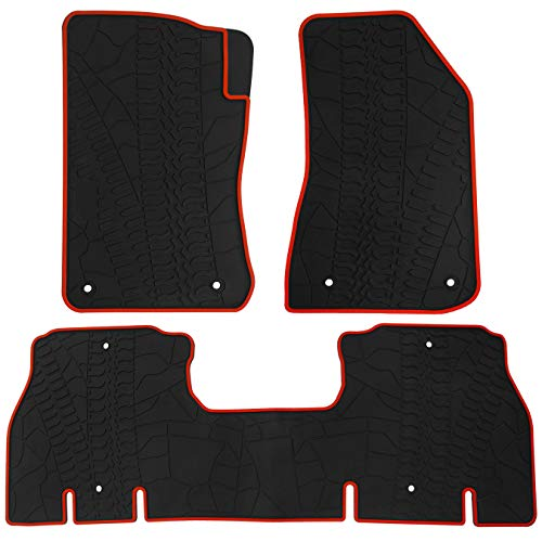 (biosp Car Floor Mats for Jeep Wrangler JL 4 Doors 2018 2019 Front and Rear Heavy Duty Rubber Liner Set Black Red Vehicle Carpet Custom Fit-All Weather Guard Odorless)