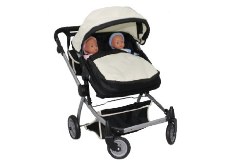 Babyboo Deluxe Twin Doll Pram/Stroller (color off white &amp ...