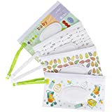 Reusable Baby Wet Wipe Pouch [4-Pack], Moisture Retention and Sanitary Wipes Dispenser Container, Portable Travel Wipes Clutch