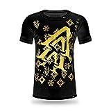 VENI.VIDI.VICI.MIAMI. Luxury Designer Men's T-Shirt O-Neck Blast Black with Gold Carbon Fiber/Vinyl Application - up to 5XL