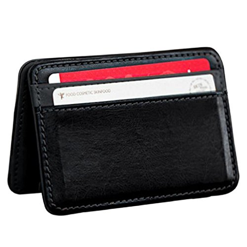 Price comparison product image Hot Sale! Mini Wallet,Canserin Mini Neutral Magic Bifold Leather Wallet Card Holder Wallet Coin Purse Money Clip (Black)