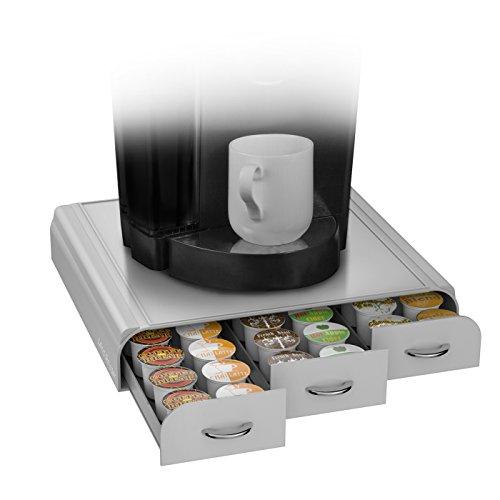 coffee pod holder storage drawer single serve holds 36 keurig pods k cup silver ebay. Black Bedroom Furniture Sets. Home Design Ideas