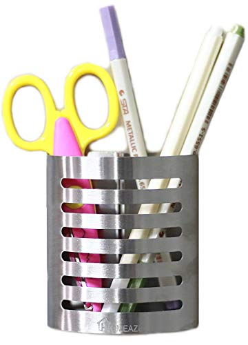 (Magnetic Pencil Holder for Refrigerator. Stylish Metal Cup Organizer Holds Markers, Pencils, Pens, Scissors & More. Durable Steel with Sturdy Design & Secure Magnet)