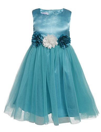 Arshiner Little Girls O-Neck Sleeveless Wedding Party Flower Decorated Tulle Dress
