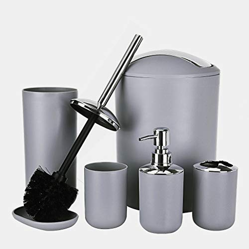 Houshelp 6 Pcs Plastic Bathroom Accessory Set Luxury Bath Accessories Bath Set Lotion Bottles Toothbrush Holder Tooth Mug Soap Dish Toilet Brush Trash Can Rubbish Bin Tumbler Straw Set Bathroom