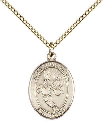 - 14kt Gold Filled St. Sebastian / Basketball Pendant with 18