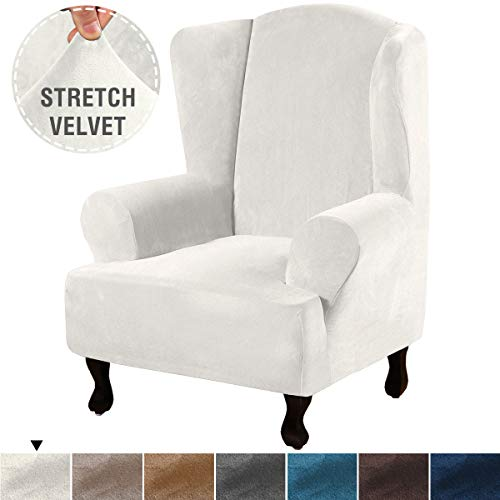 H.VERSAILTEX Elegant Luxury Real Velvet Plush Sofa Cover Soft Stretch Furniture Protector, 1 Piece Super Stretch Stylish Furniture Cover/Wingback Chair Cover Machine Washable, Ivory, Wing Chair (Luxury Cheap Furniture)