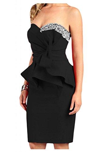 Estrellas en forma de corazón de la Toscana novia para mujer vestidos de satén corto de noche largo hasta la rodilla cóctel fiesta De antiguos alumnos negro