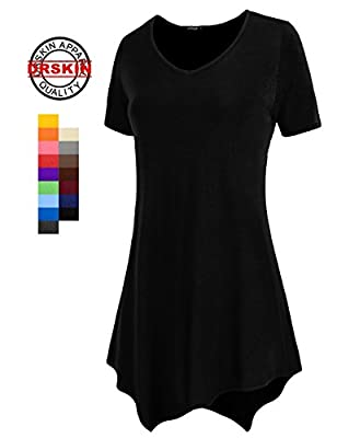 [DRSKIN] WS05 Women Handkerchief Hem Short Sleeve Long Tunic Top