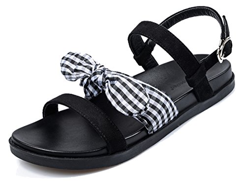 femaroly Lady Flat Sandals Female Summer Roman Shoes Large Size for Women and Girls Black 7.5M