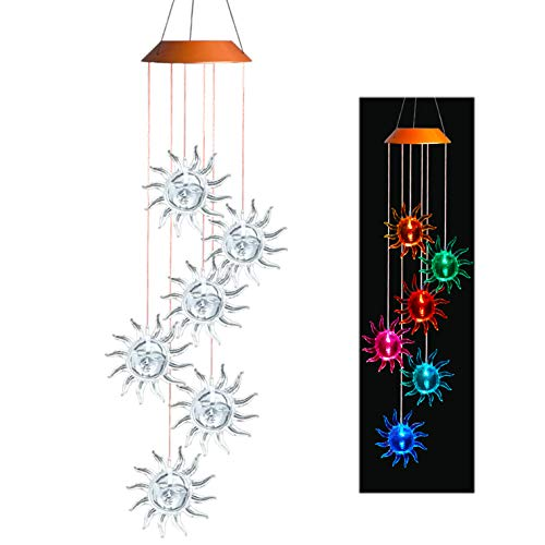 Asbana Solar Powered Wind Spinner Light, 6 Smile Suns with 7 Colors Changing Wind Light, Waterproof Hanging Wind Chime Lamp Mobile Suspended Light for Home Outdoor Garden Lighting Decor