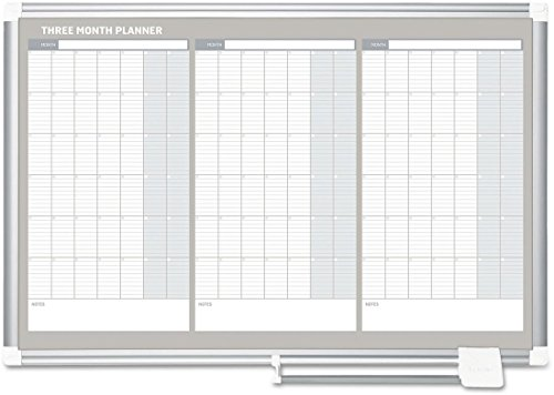 MasterVision GA03204830 Magnetic Dry Erase Calendar Board, 36 x 24, Silver Aluminum Frame by MasterVision