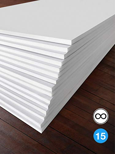 Excelsis Design, Pack of 15, Foam Boards (Acid-Free), 20x30 Inches (Many Sizes Available), 3/16 Inch Thick Mat, White with White Core (Foam Core Backing Boards, Double-Sided Sheets)