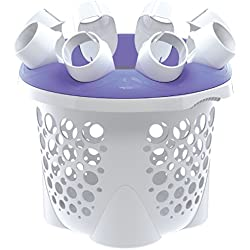 SockSync Sock Sorter, Laundry Organizer - First and Only Patented Solution Solving the Hassle of Sock Sorting and Matching, IHA Innovation Award Finalist, Purple & White Color