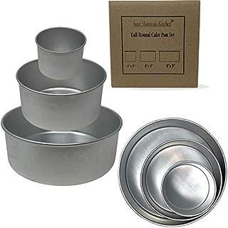 Tall Round Cake Pans - 3 Pan Set - 4 Inch x 3 Inch, 6 Inch x 3 Inch, 8 Inch x 3 Inch