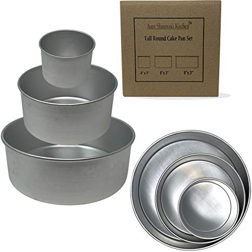 Tall Round Cake Pans - 3 Pan Set - 4