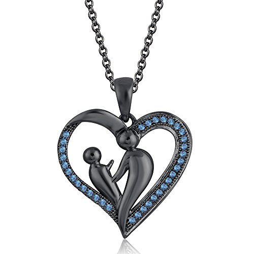 - Silvercz Jewels 9K Black Gold FN Aquamarine Sim Diamond Accent Mother & Child Heart Pendant Necklace