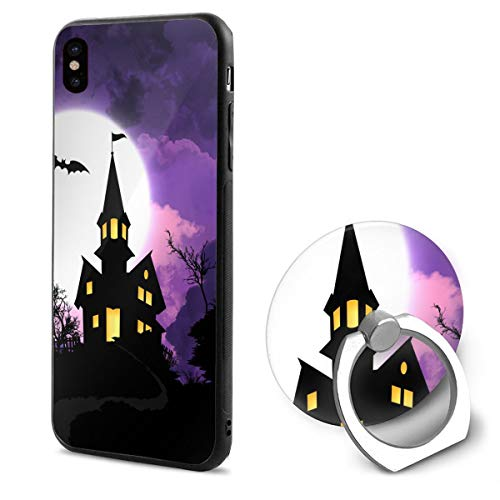 Barton Apple iPhone Xs Case(2018) / iPhone X Case(2017) + Finger Ring Stand Holder 360 Degree Rotating Combo Set - Halloween -