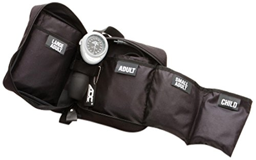 ADC Multikuf 732 4-Cuff EMT Kit with 804 Portable Palm Aneroid Sphygmomanometer, Child, Small Adult, Adult and Large Adult Blood Pressure Cuffs (13-50 cm), Nylon Zipper Storage Case, Black