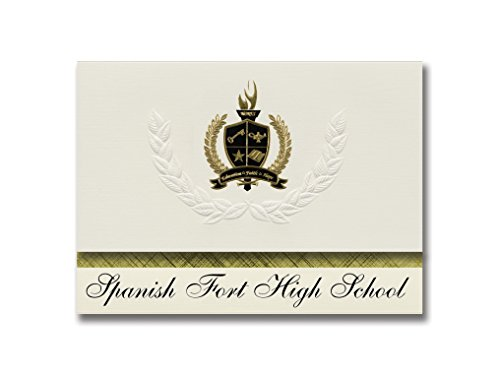 Signature Announcements Spanish Fort High School (Spanish Fort, AL) Graduation Announcements, Presidential style, Basic package of 25 with Gold & Black Metallic Foil - Spanish Fort Al