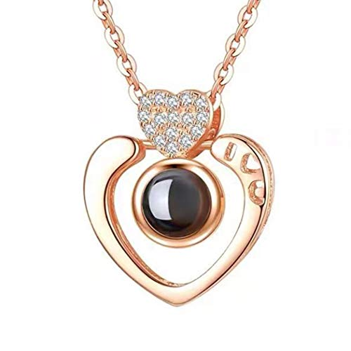 Women Heart Shape 100 Language to Say I Love You Charm Chain Pendant Jewelry Necklace for Lover Valentine's Gift ()