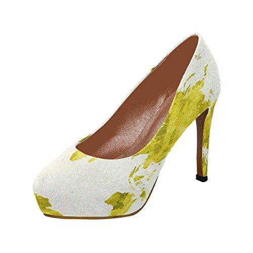Interestprint Mujeres Classic Fashion High Heel Platform Bombas Mapa Del Mundo En Acuarela Pintura Abstracto Salpicaduras Amarillo