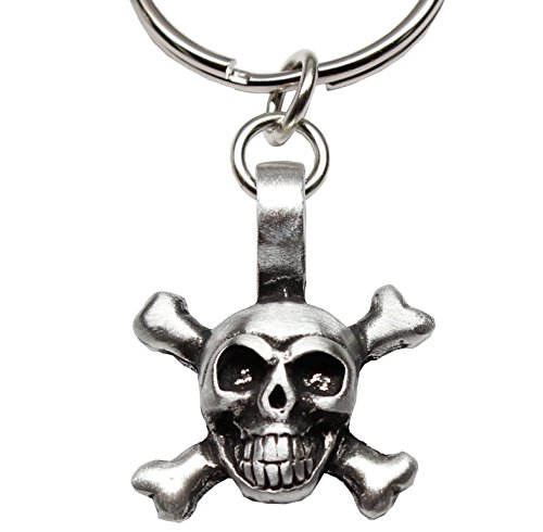 Skull Key Fob (Skull and Crossbones Pirate Biker Gothic Pewter Keychain)