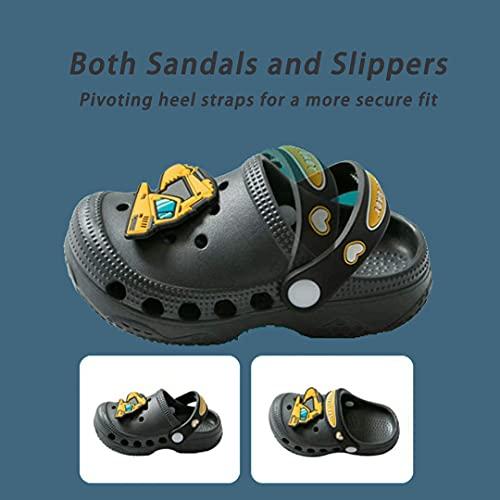 Kids Clogs for Boys Girls Non-Slip Cute Garden Shoes Children Lightweight Beach Pool Shower Slippers Sandals Mules Grey 180