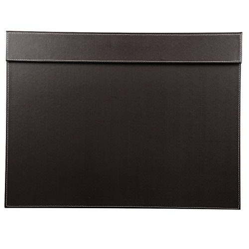 KINGFOM Ultra-Smooth PU Leather Writing Pad Desk Mat with Office Desk A3/A4 File Paper Clip Drawing & Writing Board Tablet (Brown)