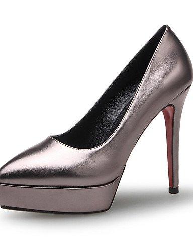 GGX/ Zapatos de mujer-Tacón Stiletto-Tacones / Gladiador / Puntiagudos-Tacones-Oficina y Trabajo / Vestido-Microfibra-Azul / Gris / Melocotón , gray-us8.5 / eu39 / uk6.5 / cn40 , gray-us8.5 / eu39 / u blue-us5.5 / eu36 / uk3.5 / cn35
