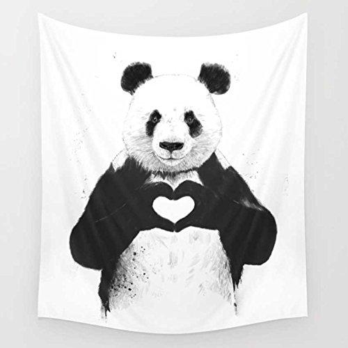 YOUSA Black White Panda Tapestry Wall Hanging Panda Dorm Decor 51''x59''