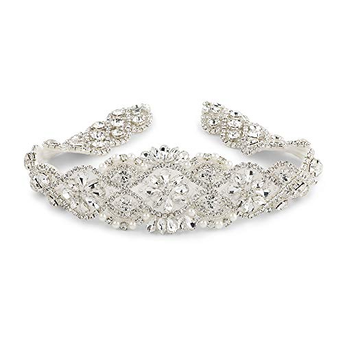 QueenDream Rhinestone Appliques Joann Beaded Applique Wedding Applique-Silver 18 Inches Long(Non Ribbon)