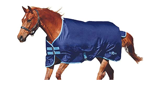 Gray//Navy Saxon 600D Standard Neck Lite 2 Tone Turnout Sheet with Gussets Size