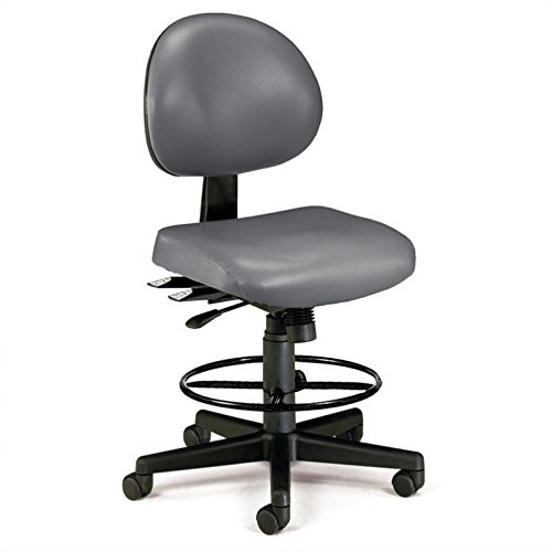 """Ofm Continuous-Use Seating - Stool - 27-31"""" Seat Height - Charcoal Vinyl - Charcoal Vinyl"""