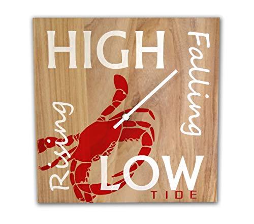 - OldBleu Tide Clock - Handmade - Red Crab - Beach Lover