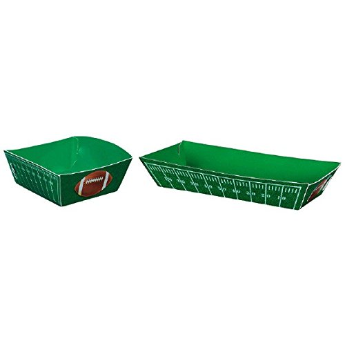 Amscan Football Frenzy Birthday Party Food Trays (16 Pack), Green, 10.6 x 8.5