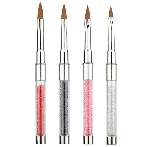 (4 Pcs Kolinsky Sable Acrylic Nail Art Brush Nail Brush Kit )