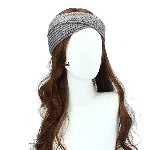 Oreille Mode Tricoté Hiver Amison Bandeau Tissage Femmes Protecteur Fleur Crochet Bohême Headwrap Laine Gris 4wn4FxtPq