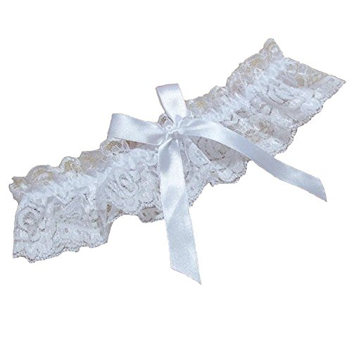 TTVOVO Women Sexy Wedding Bridal Lace Garter Belts Lovely Bowknot Garter Elastic Leg Ring Lingerie - White