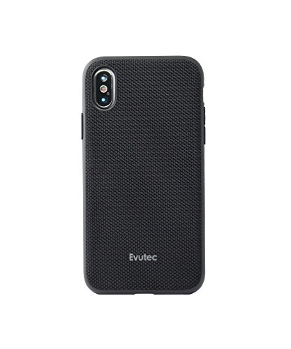 Case Compatible with iPhone Xs & iPhoneX, Evutec AERGO Series Ballistic Nylon + 3D TPU Interior Wireless Charging Compatible Premium Protective Phone Case-Black (AFIX+ Magnetic Mount Included)