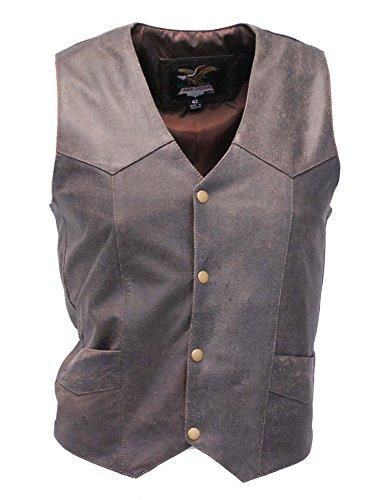 Jamin' Leather Premium Rich Brown Leather Plain Men's Vest 44