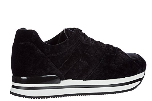 Hogan scarpe sneakers donna camoscio nuove h222 nero