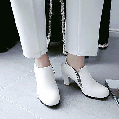 Talones de las mujeres de primavera y verano otro vestido de cuero tacón grueso Otros Negro Rosa Blanco White