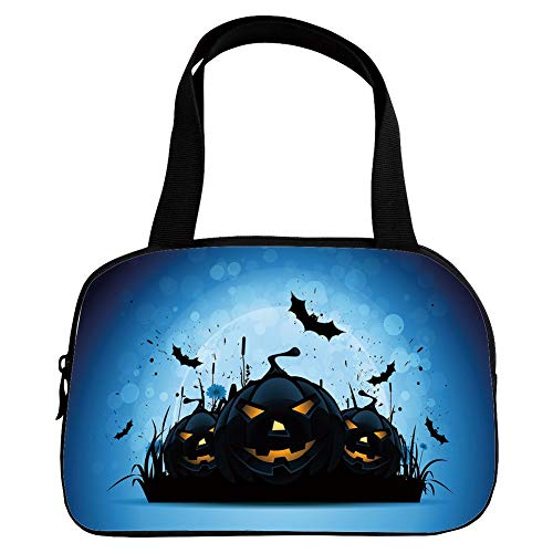 Strong Durability Small Handbag Pink,Halloween,Scary Pumpkins in Grass with Bats Full Moon Traditional Composition Decorative,Black Yellow Sky Blue,for Students,3D Print ()