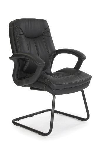 Eliza Tinsley 608AV/LBK Cantilever Framed Leather Faced Visitors Armchair with Contrasting Stitching - Black