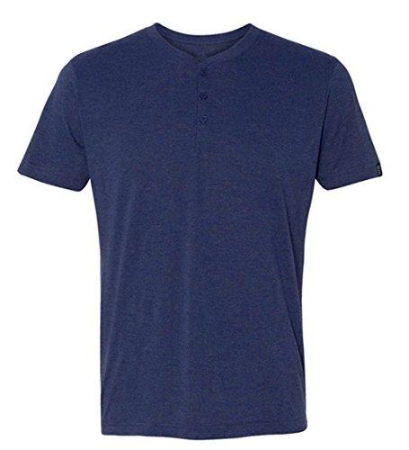 Basic Classic Tri-Blend Short Sleeve Henley T-Shirt for Men Heather Navy
