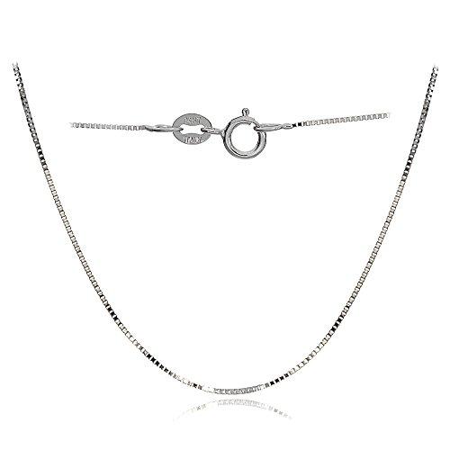 Bria Lou 14k White Gold .6mm Italian Box Chain Necklace, 24 Inches by Bria Lou