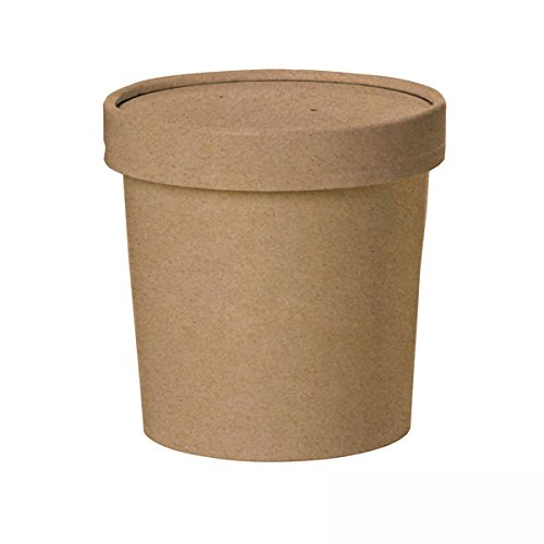 PacknWood Round Kraft Soup Container Bucket with Paper Vented Lid, 16 oz. Capacity (Case of 500) by PacknWood