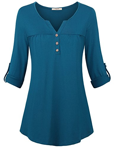 unic Tops, Women's Long Sleeve Tunics Shirts Henley V Neck Blouses A Line Fitted Dressy Tops to Wear with Leggings Cyan Medium ()