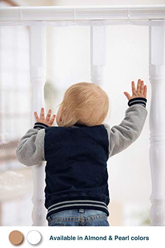 Roving Cove | Safe Rail | Banister Guard | Balcony & Stairway Safety Net | 10ft L x 3ft H | Indoor | Pearl Color | Baby Proofing, Child Safety, Stair Railing Net; Pet; Toy; Protector